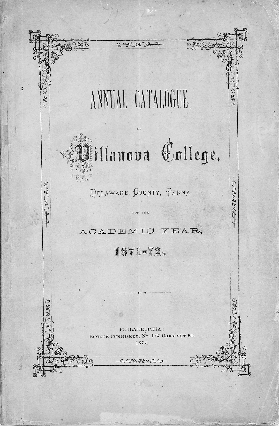 The first Villanova College Catalogue