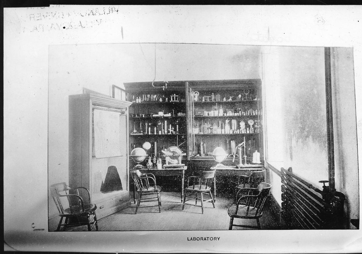 Science laboratory in the College Building (Alumni Hall), 1894