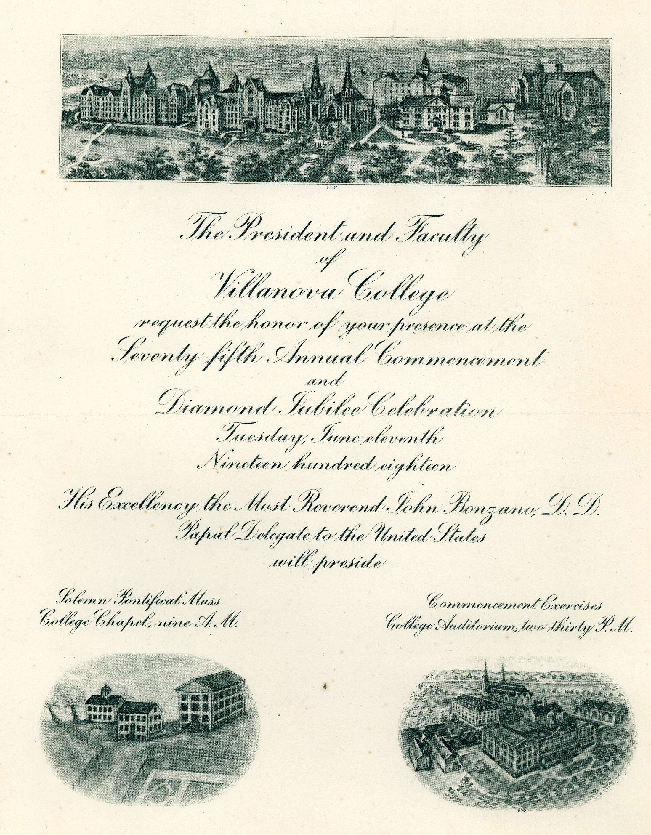 Invitation, Diamond Jubilee Commencement, 11 June 1918