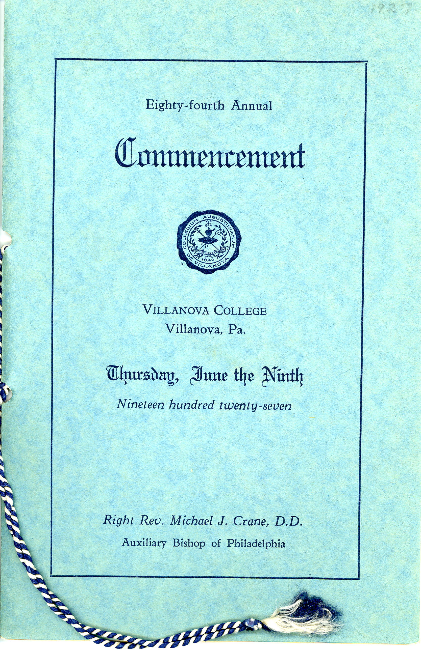 Commencement Program, 9 June 1927