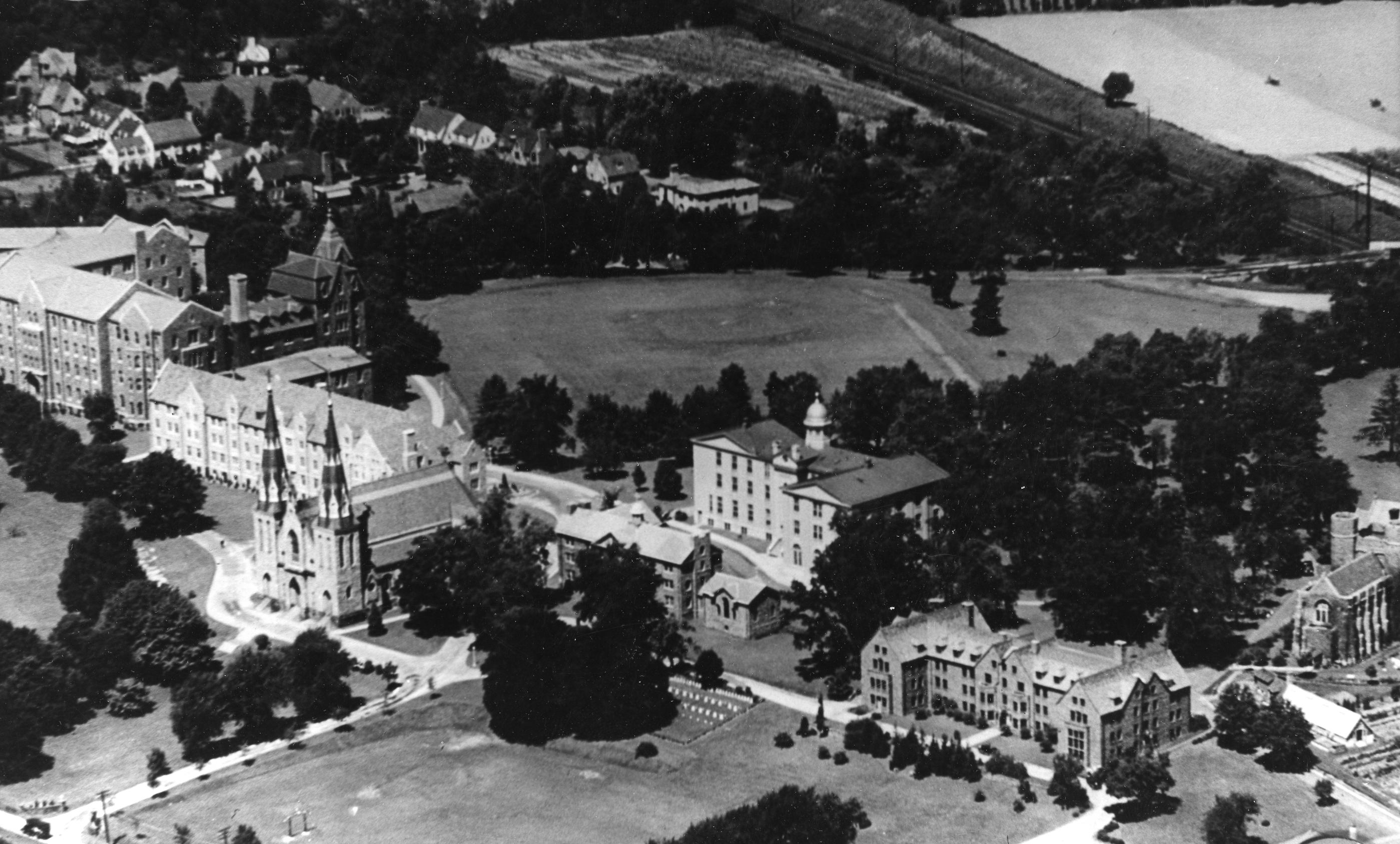 Aerial view of Villanova campus, 1928-1930