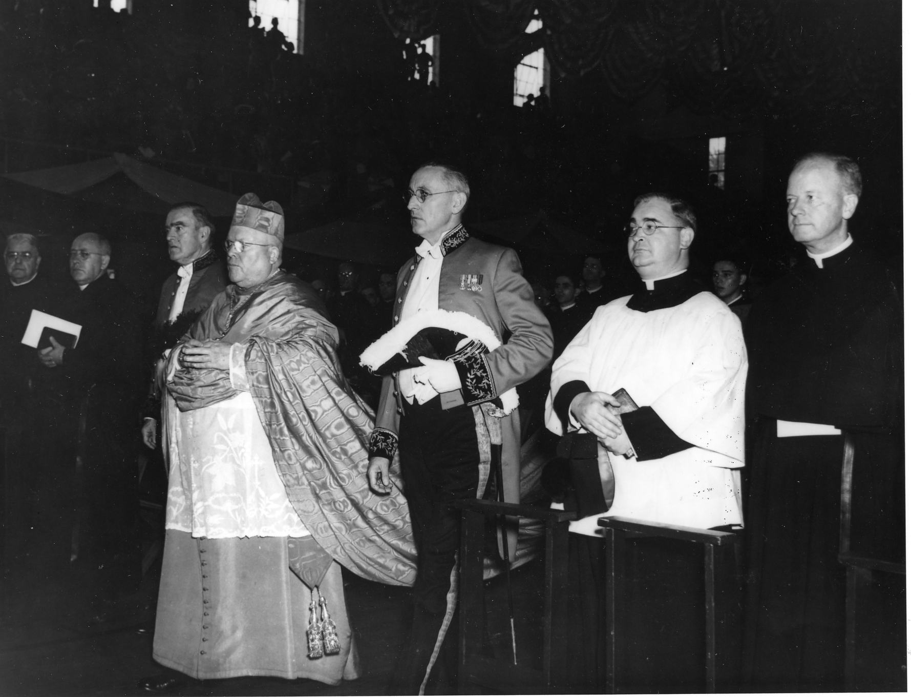 Dennis Cardinal Dougherty, D.D., Archbishop of Philadelphia. Procession of Solemn Pontifical Mass, 20 September 1942.