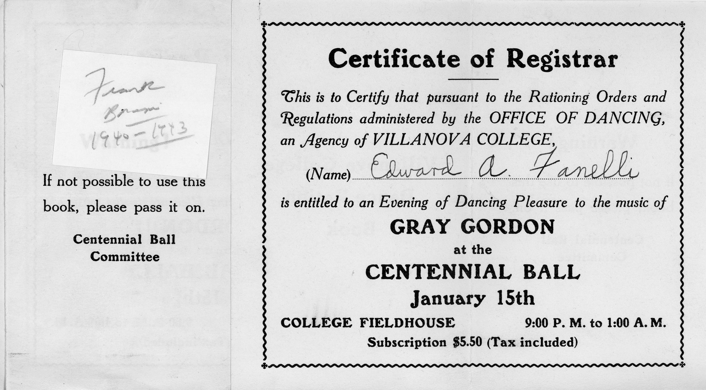 Villanova College Dance Ration Book