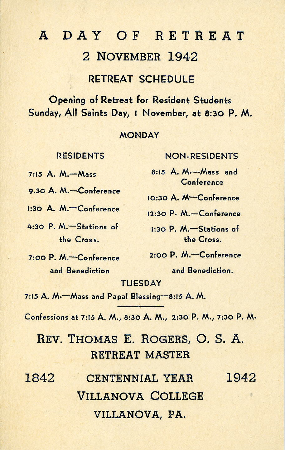 Student Retreat Schedule, 2 November 1942.