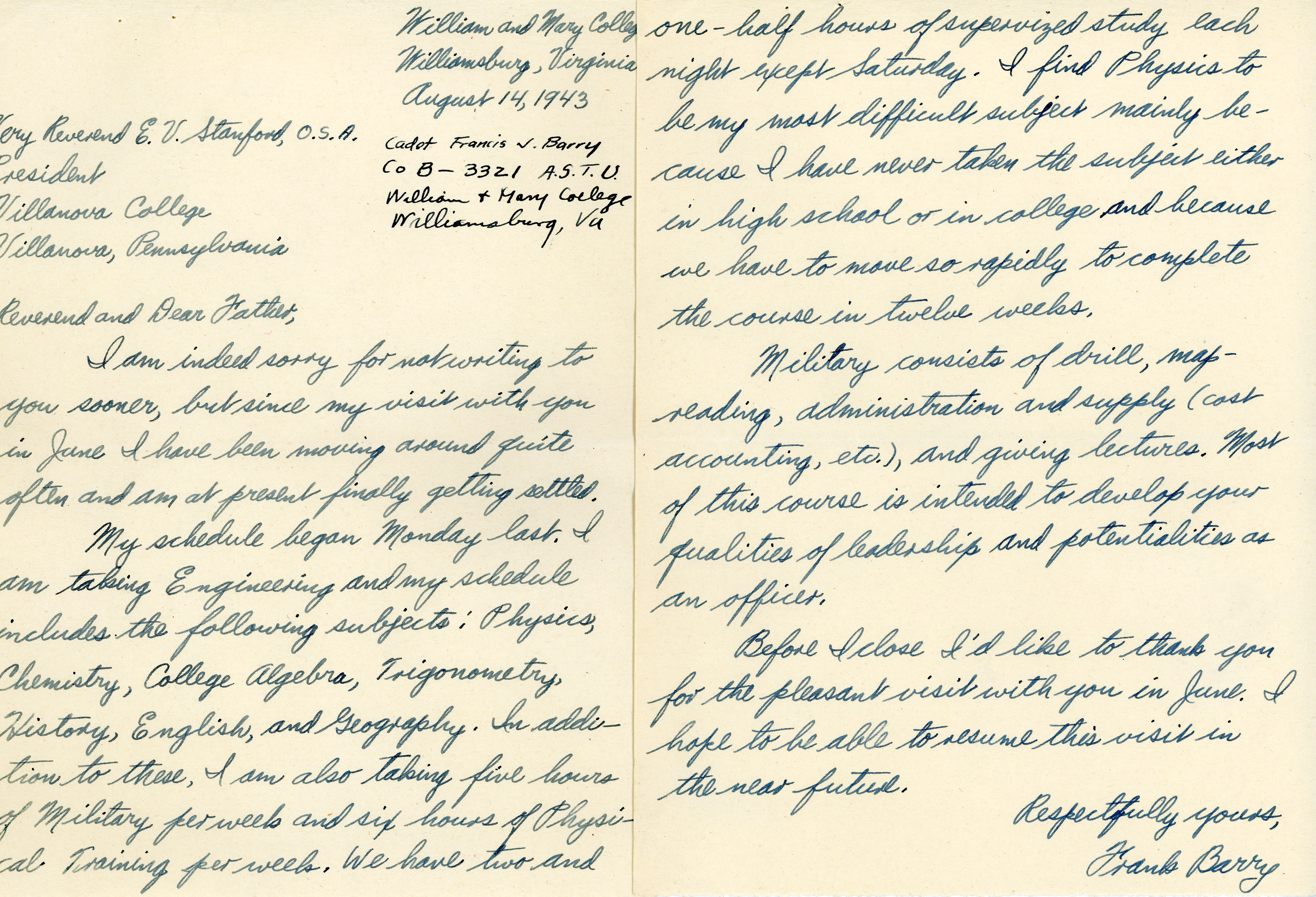 Wartime correspondence of Pvt. Francis J. Barry