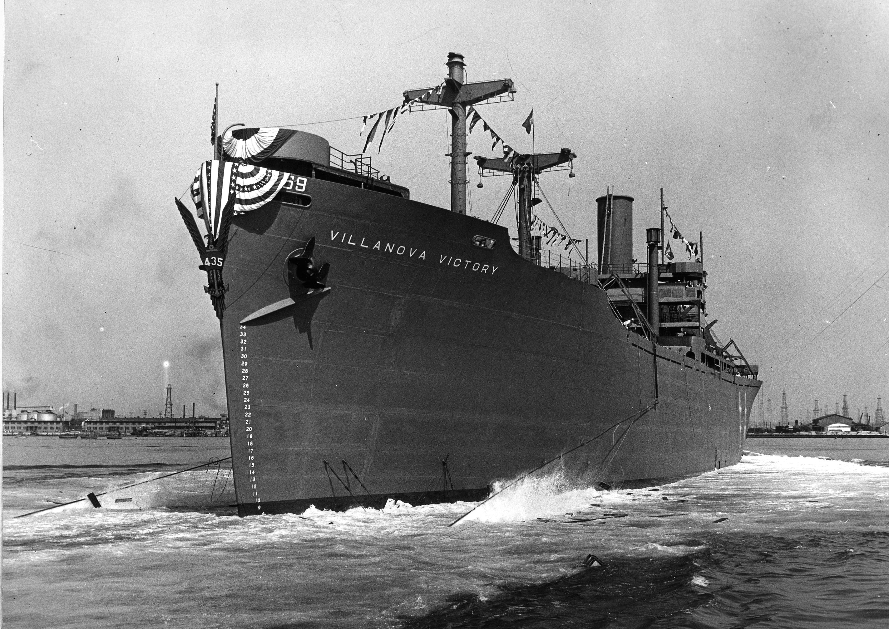 Launching of the S.S. Villanova Victory Ship