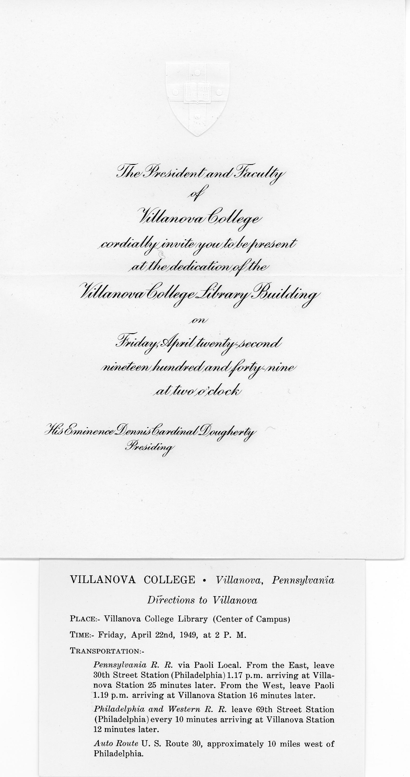Invitation, Dedication of the New Library