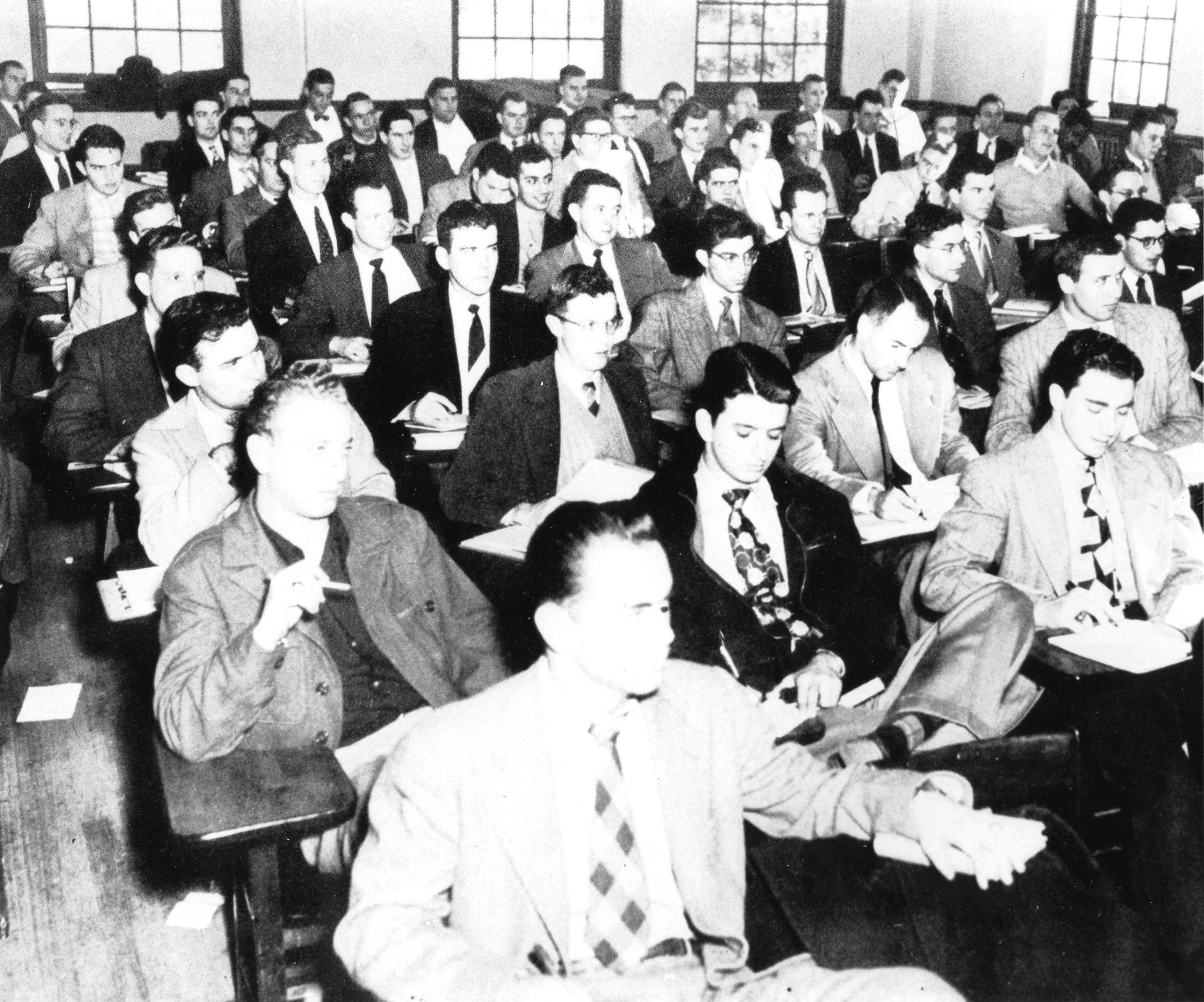 Some students without ties, 1950