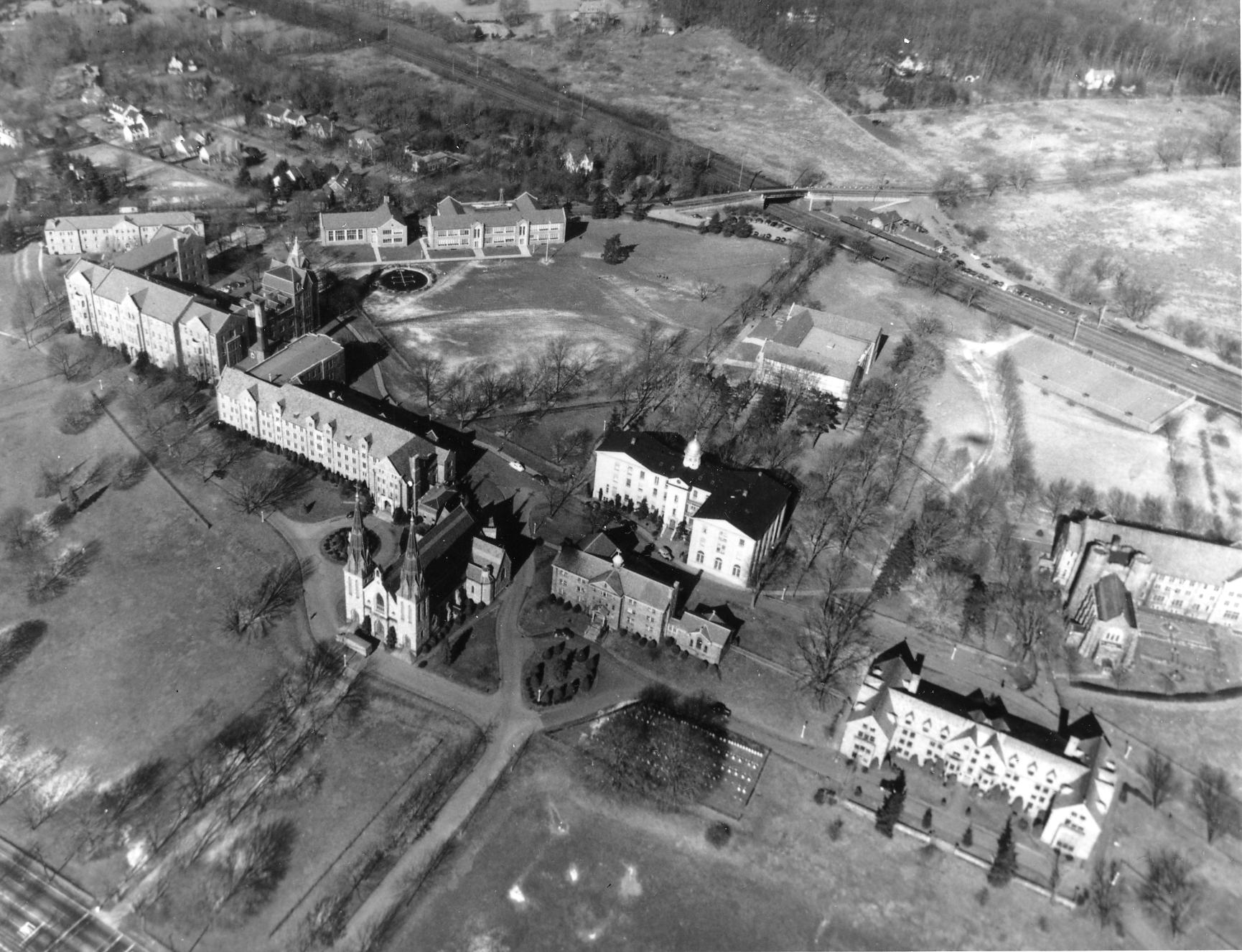Aerial view of campus, early 1950s.