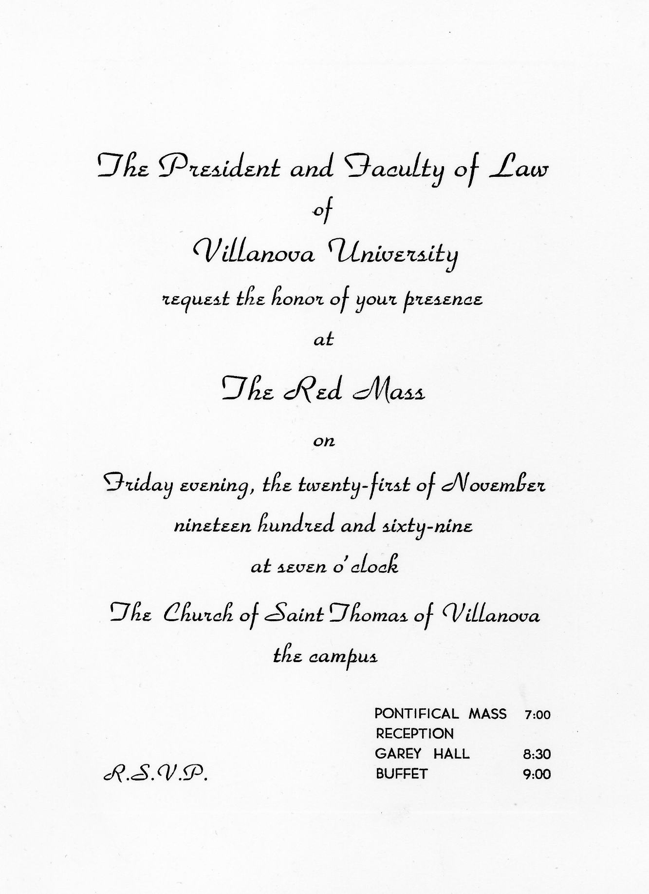 Invitation to Red Mass, 1969