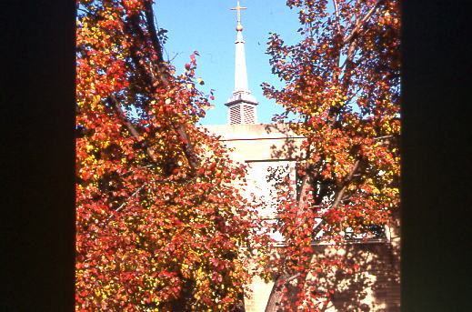 The spire of Dougherty Hall is viewed through colorful foliage
