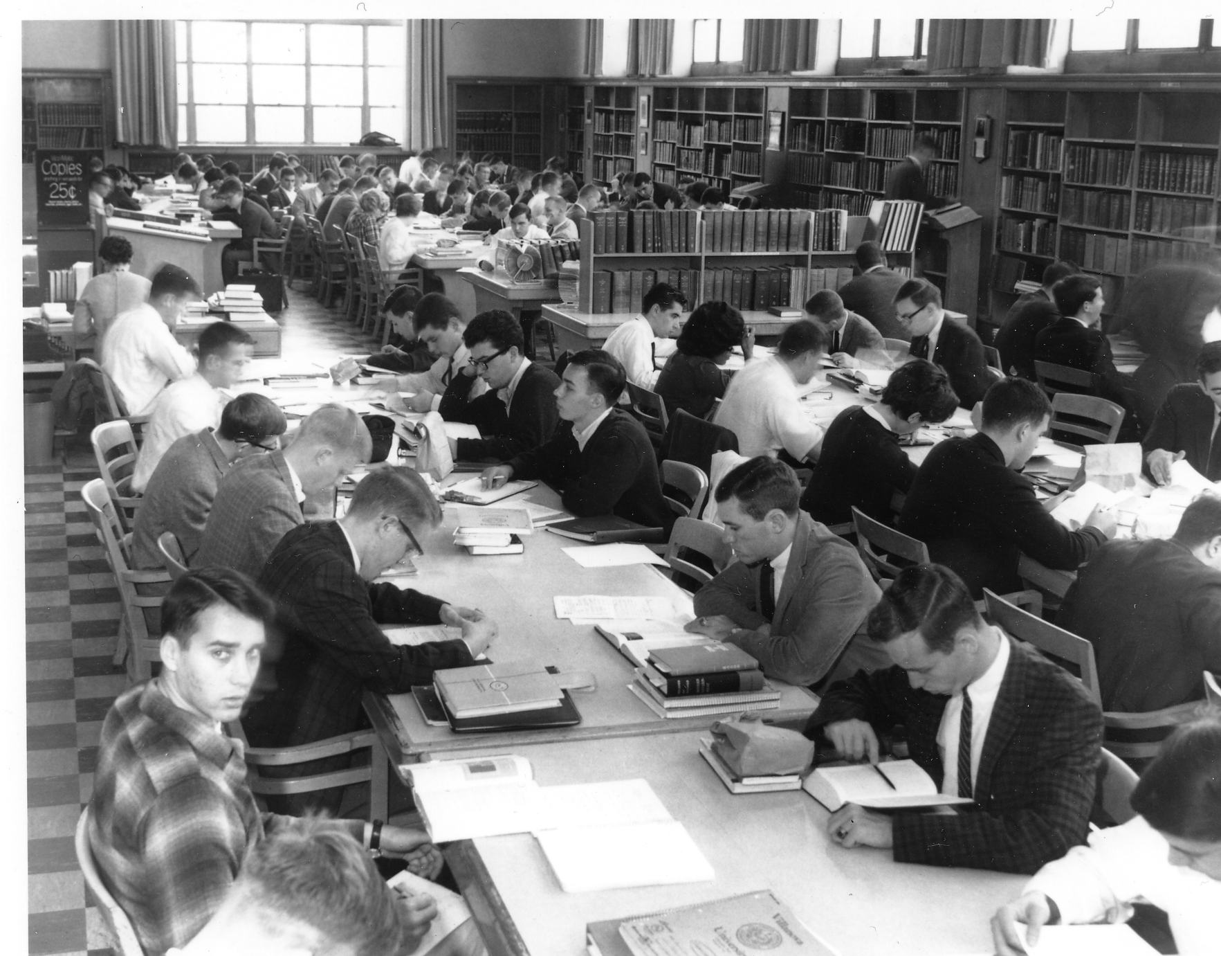 Students from 1949 used the Reference Room in Falvey Hall