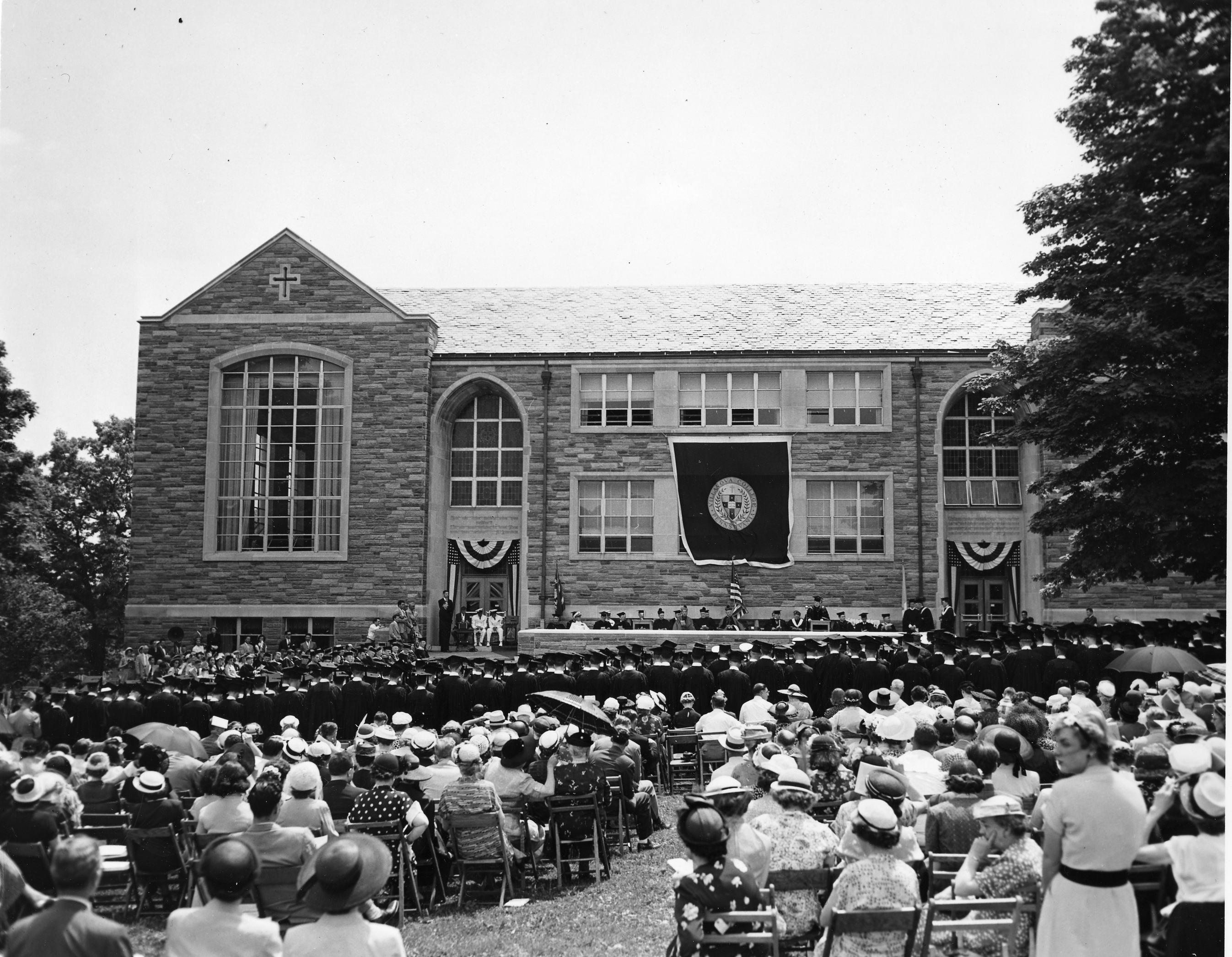 Commencement in front of the Villanova College Library, 4 June 1951
