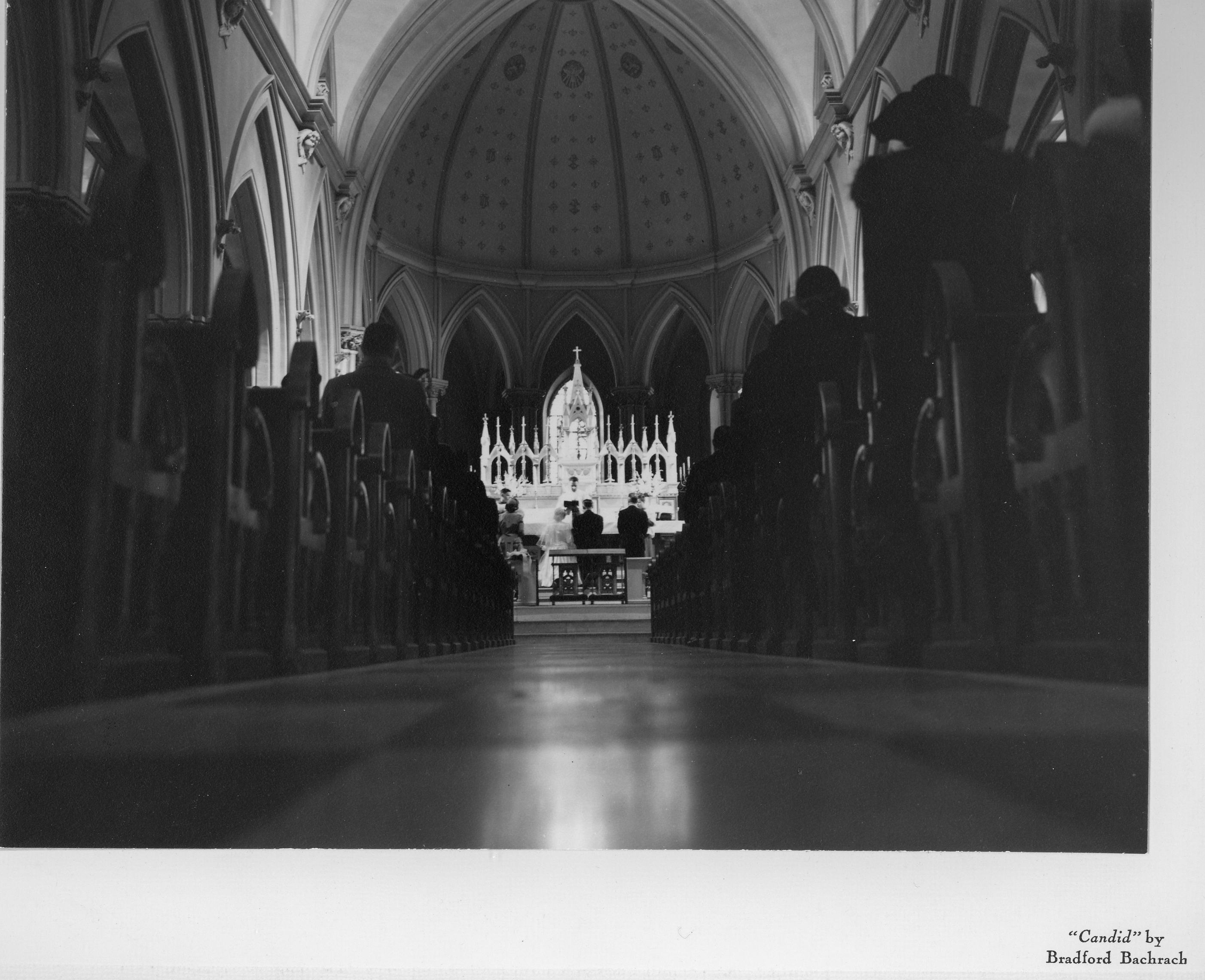 "Wedding being performed in Saint Thomas of Villanova Church, 1959. (""Candid"" by Bradford Bachrach)"