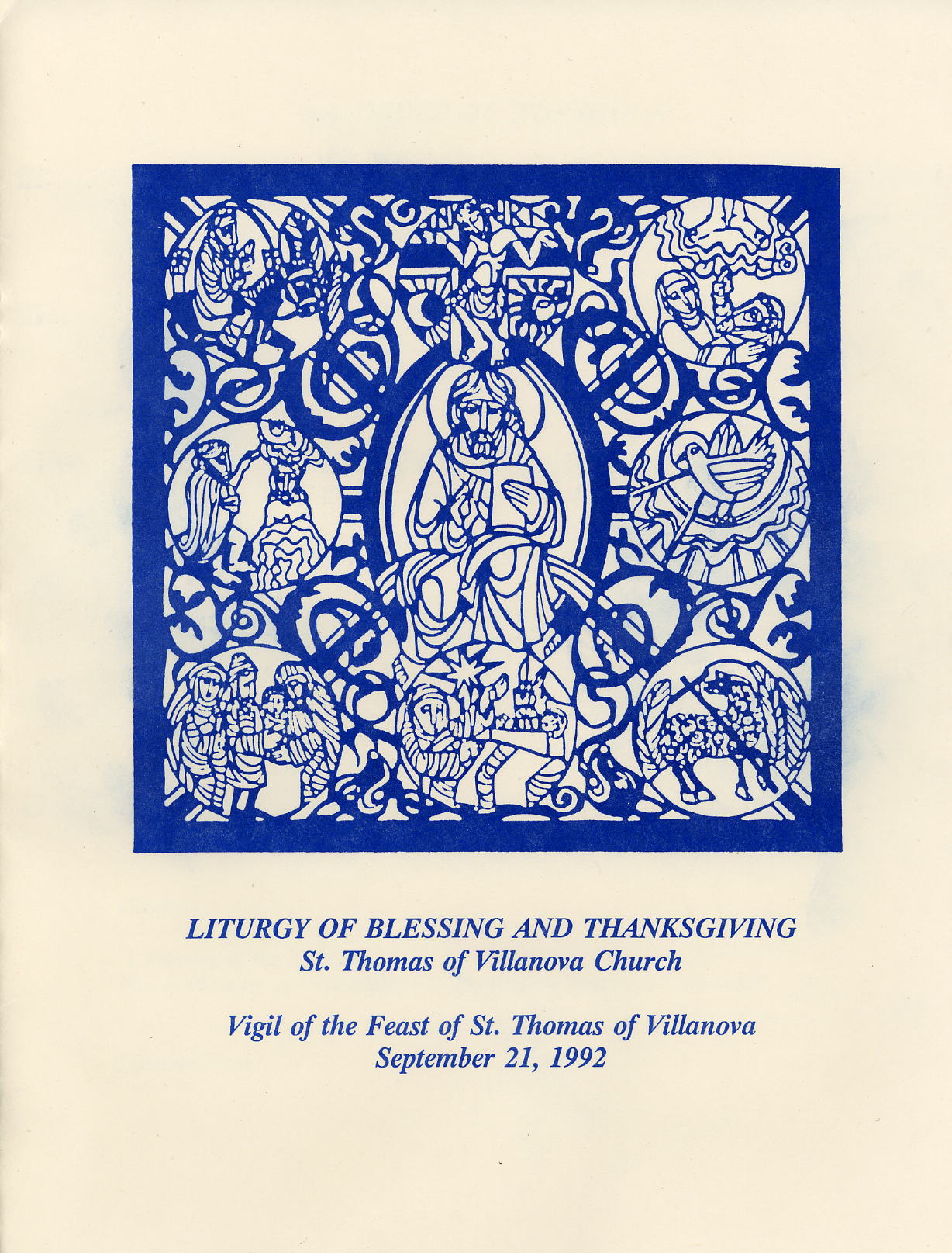 Program, Liturgy of Blessing and Thanksgiving
