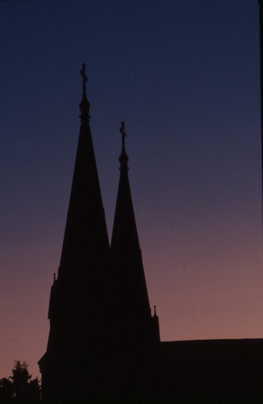 The twin spires of Saint Thomas of Villanova Church